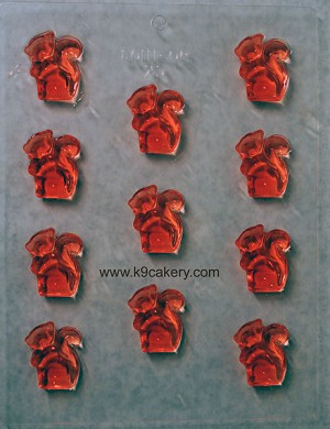 11 Squirrel shape candy mold (1.5 inch squirrels)