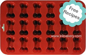 "18 Mini Dog Bones Silicone Cake Pan (1.5"" x 0.5"" deep each)"